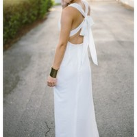 Madeline- Long white maxi dress with cross back and bow detail