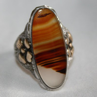 Art Deco Sterling Ring Banded Agate 12kt GF 1920s Jewelry Size 6