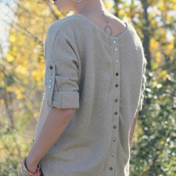 Roll Up Sweater with Back Studded Detail - Taupe | Posh Boutique