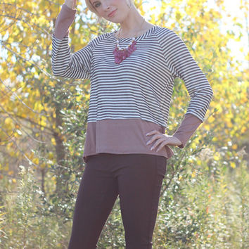Striped top with mocha hem | Posh Boutique