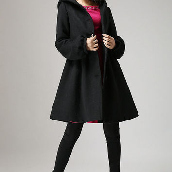 Black wool coat hooded coat winter jacket cashmere coat (730)