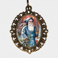 Santa Claus Necklace, Christmas Jewelry, Oval Pendant