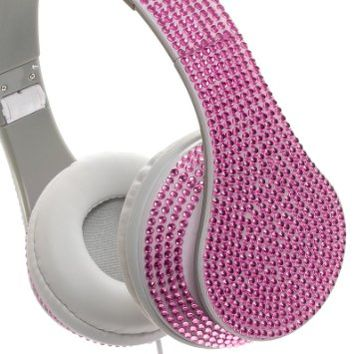 Crystal Case Foldable DJ Stereo Headphones w/ Handsfree Mic (Pink)