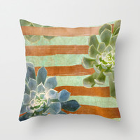 Copper Stripes and Succulents Throw Pillow by Lisa Argyropoulos