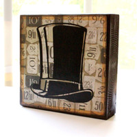 5x5 Wood art block antique top hat numbers distressed paper free shipping