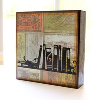 5x5 Wood Art Block Books ink Stamps library vintage paper bookshelf free shipping