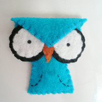 Decorative owl fridge magnet blue angry felt animal decor