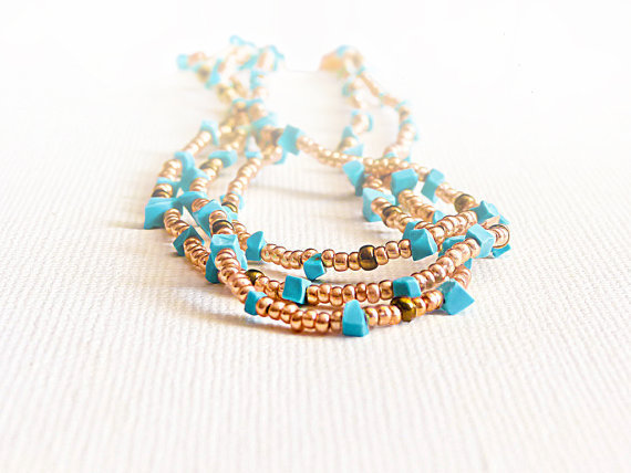 Turquoise jewelry. Bohemian Layer necklace Dainty gold tiny beads necklace/ wrap bracelet.  tbteam