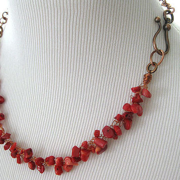 Red Bamboo Coral Copper Wire Crochet Necklace