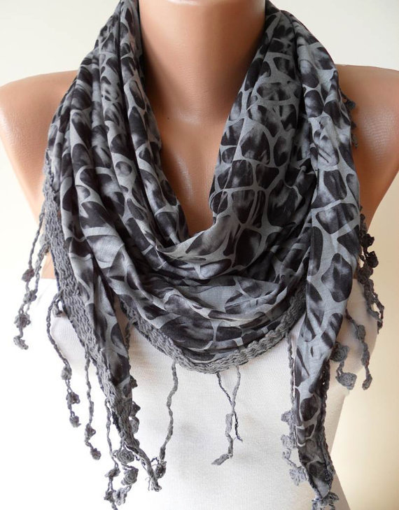 ON SALE - Leopard Print - Grey Scarf - with Trim Edge
