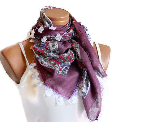Dark pink, Multicolor Turkish Yemeni OYA Scarf ..bridal,scarf,authentic, romantic, elegant, fashion,
