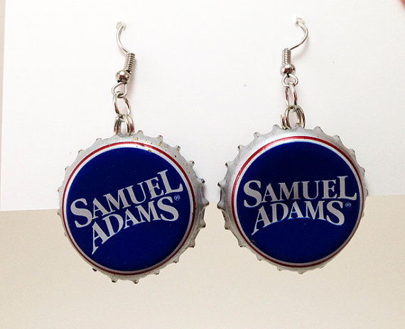 Beer Bottle Cap Earrings Sam Adams Lager