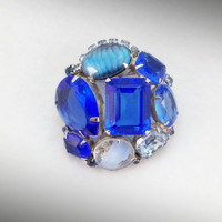 Gem Stone Brooch Vintage Jewelry in Beautiful Blue