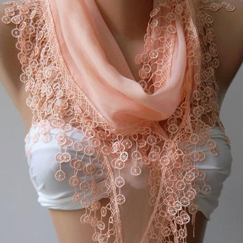 Cotton/ Traditional Turkish fabric / Anatolian Shawl/Scarf--Salmon Pink