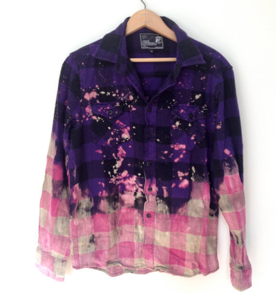 Bleached Flannel Shirt - Purple & Pink