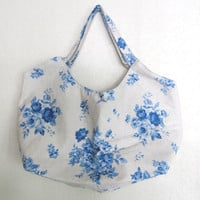 Tote Bag- blue rose on natural beige