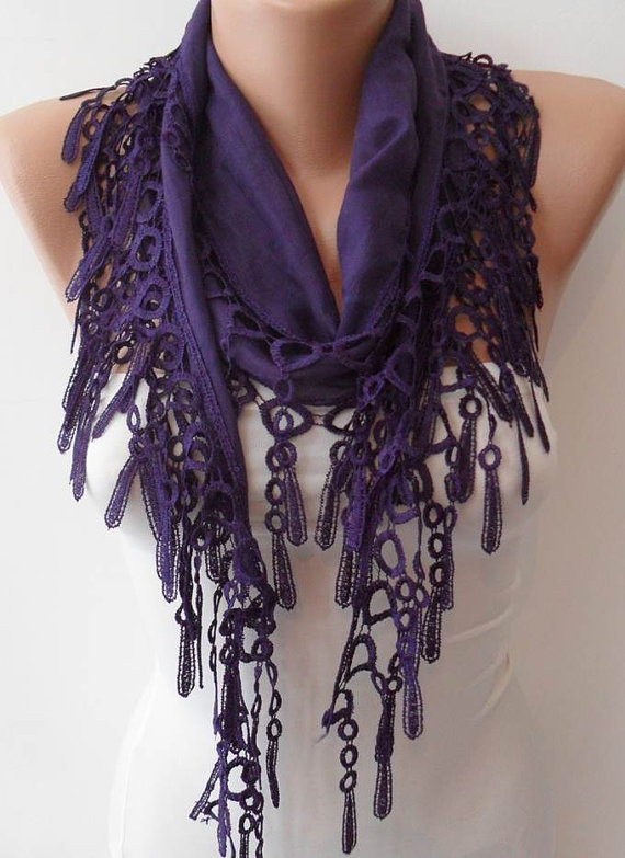 Dark Purple  - Lightweight Summer Scarf with Purple Trim Edge