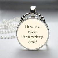 Raven Like A Writing Desk Alice In Wonderland Glass Tile Bezel Pendant
