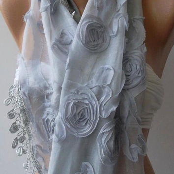 Grey/ Roses/Lace and Elegance Shawl / Scarf