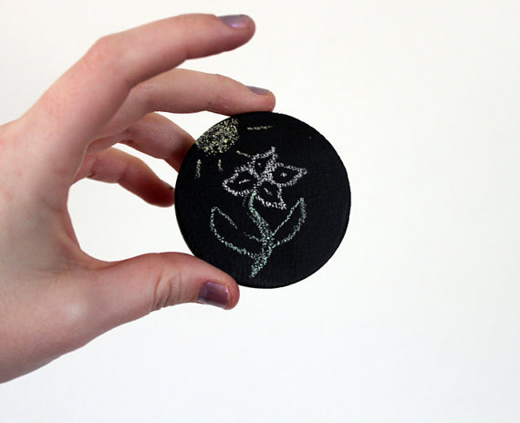 Spring Customize your Pin Chalk Board Jewelry Brooch Chalkboard blackboard circle