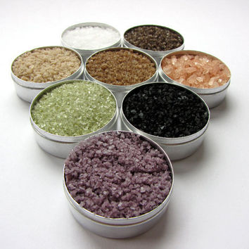 origin sea salts. gourmet salts from around the globe. no artificial color or additives. great gift for a cook.