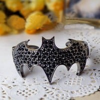 Rhinestone Bat Bracelet