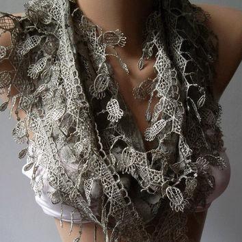 Stone Color / Elegance  Shawl / Scarf with Lacy Edge