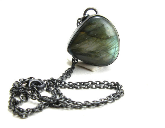 Flashy Green Labradorite Gemstone and Black Sterling Silver Necklace Unisex Mystic Jewelry