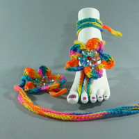 Flower-Foot Thongs-Crochet-Evil-Bohemian-Barefoot Sandals-Anklets FS-196