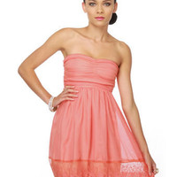 Romancing the Throne Strapless Coral Dress