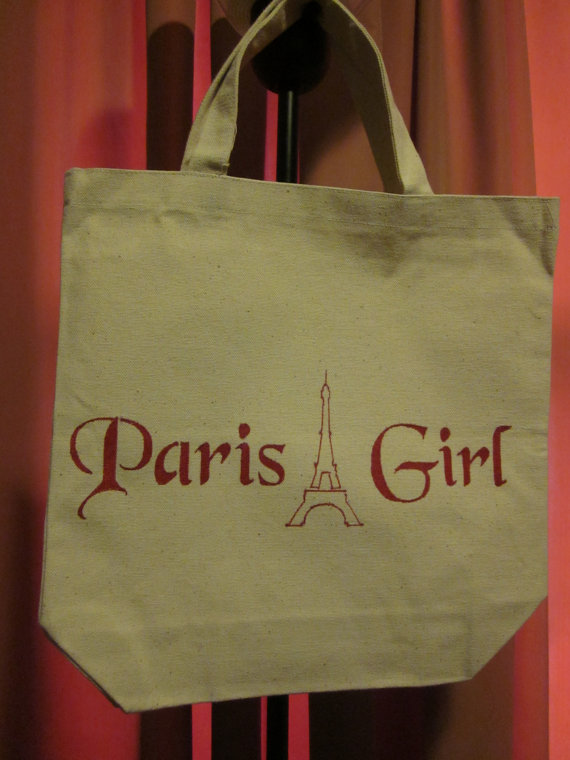 Paris Girl Cotton Canvas Shopping Bag