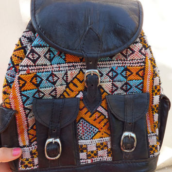 vintage leather backpack aztec print