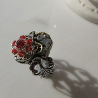 SIAM UPCYCLED WATCH MECHANISM STEAMPUNK FILIGREE ADJUSTABLE RING - by GErManoArts on madeit