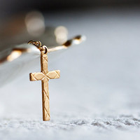 Simple Cross Necklace Gold Filled Chain Crucifix Charm Religious Necklace Cross Charm Christian Jewelry - N198