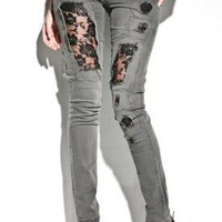 Women&#x27;s Tight Lace Denim (Black) | Cheap Monday | 80&#x27;s Purple