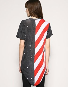 Horace Space Print Drape Hem T-Shirt at asos.com