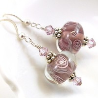 Plum Lampwork Bead Sterling Silver Earrings