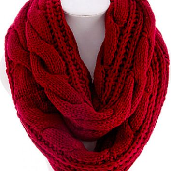 cozy soft cable knit infinity scarf , red scarves burgundy texture textured boho indie warm fall winter women's must have clothing's fashion