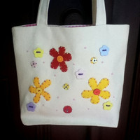 Canvas Tote Bag Flowers and Button Tote