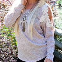 pre-order sweet me crochet lace , oatmeal cozy sweater knit knitted women's fall winter fashion must have back to school comfy indie boho
