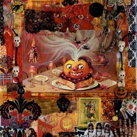 Vintage Halloween Pumpkin Photo Mixed Media Collage