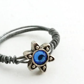 Small Star Ring - Wire Wrapped Beaded Blue Jewel Ring -  Dainty Silver Star Ring