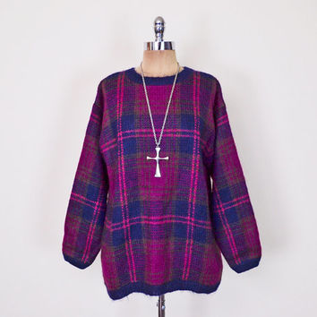 Plaid Sweater Jumper Fuzzy Mohair Sweater Oversize Sweater Boyfriend Sweater Hipster Sweater 80s 90s Sweater 90s Grunge Sweater S M L XL