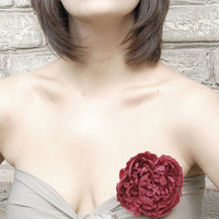 Claret/maroon handmade 100% silk flower hair clip/pin brooch