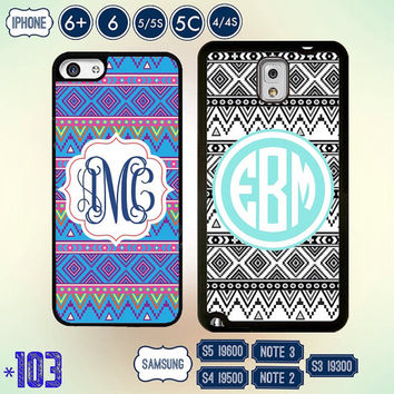 Custom Monogram Aztec @ iPhone 6 case , iPhone 6 plus case, iPhone 5 5S 4S 5C cover , Samsung Galaxy Note 3 case , Samsung galaxy S4 S5 S3