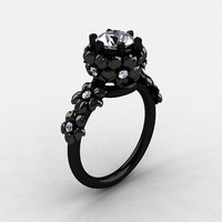 14K Black Gold White Sapphire Diamond Flower Wedding Ring, Engagement Ring NN109-14KBGDWS