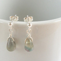 Rainbow Flourite Earrings, Wire Wrap Earrings in Sterling Silver