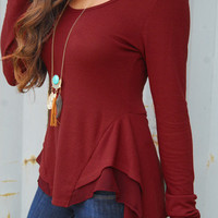 Relaxed Peplum Top - Crimson