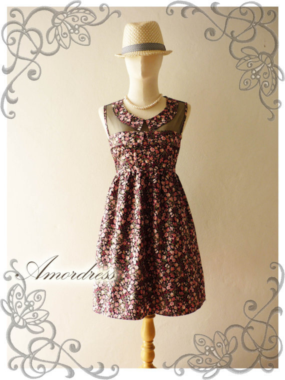 YARDSALE ...Amor Vintage Inspired Adore Me Pink  Floral Dress Sleeveless Cute See Through Detail Top -Fit Size S-M-