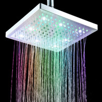 "8"" inch Square 7 Colors Changing LED Shower Head Sprinkler Rain for Bathroom US"